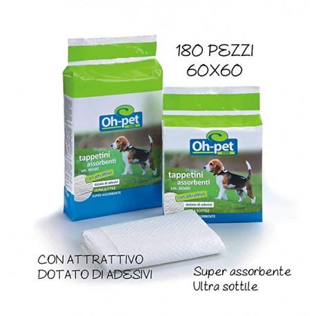 Tappetini Igienici con adesivi Per Cani e Gatti Traverse oh pet 60x60 180 Pezzi